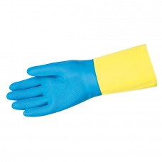 "MEM - 5409 - S -  M.C.R. 28 Mil. 12"" Flocked Lined Blue Neoprene over Yellow Latex Chemi-Tech Glove with Straight Cuff, $24.76 - Per Dozen"